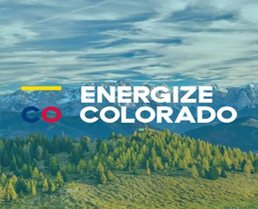 picture of mountains with the Energize Colorado logo