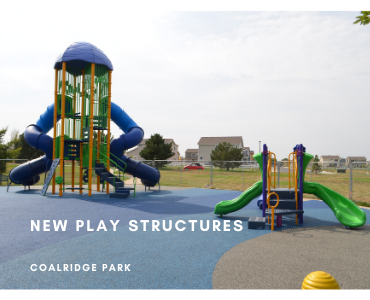 picture of new play structures at Coalridge park