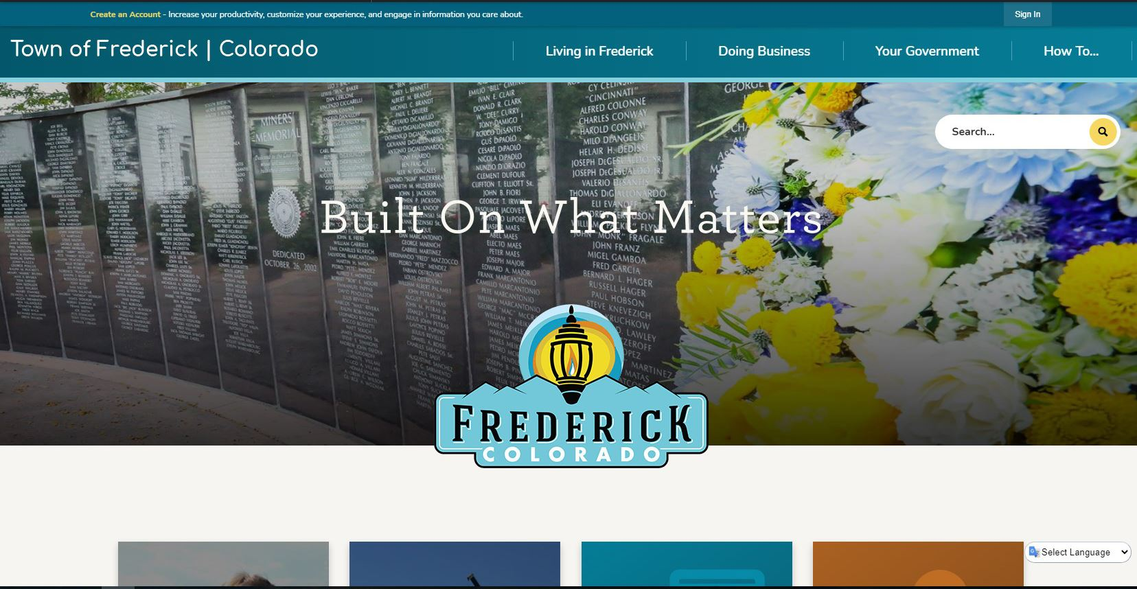 picture of Frederick, CO home webpage